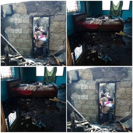 Photos: Retired soldier's 7-bedroom house damaged by fire in Ashanti region