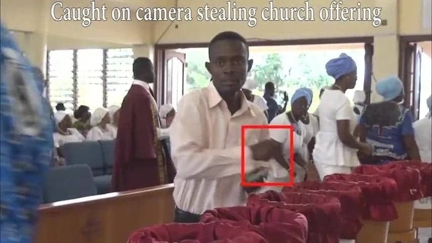 Video shows moment man steals from church offering in Accra