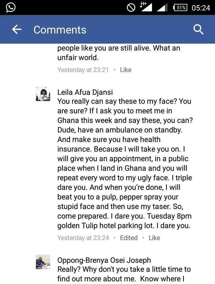 Laila Djansi loses her cool on social media