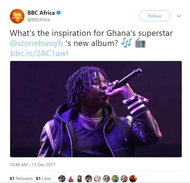 Ghanaians shade BBC for using wrong picture of Stonebwoy
