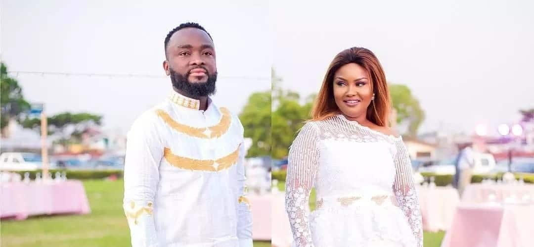 Maxwell Mensah and Nana Ama McBrown wearing white