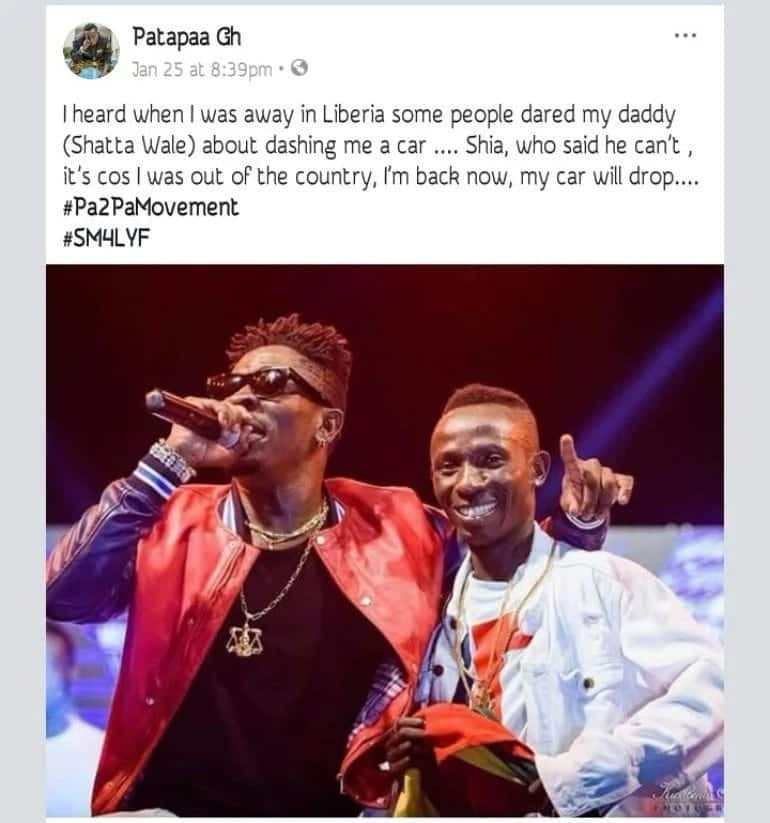 Patapaa's post for a car gift from Shatta Wale