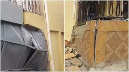 Traders in Kumasi run for their lives as two-storey building with shops is fast sinking