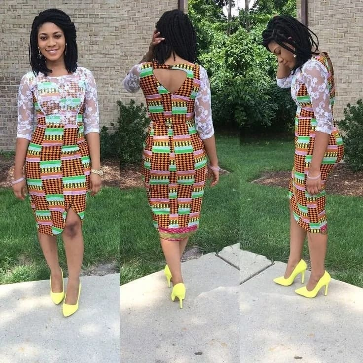 Short African dresses with lace