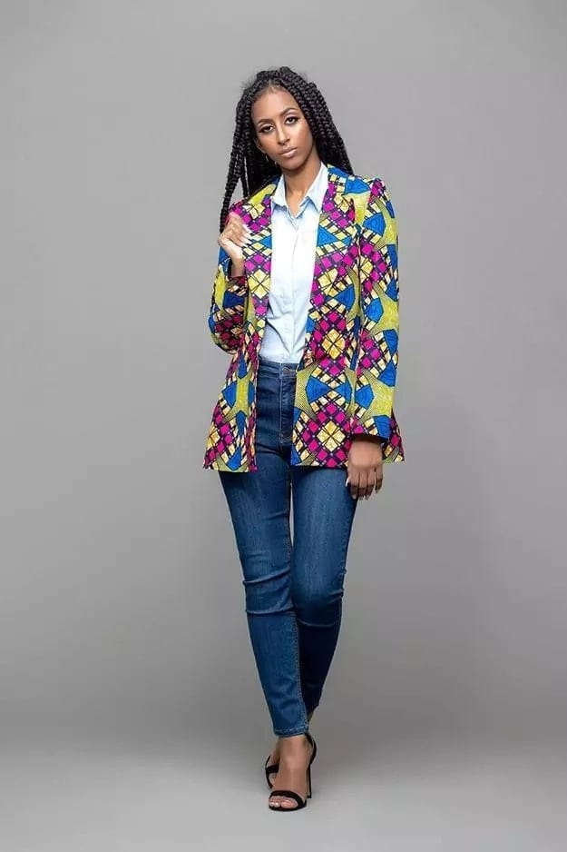 blazer with african print