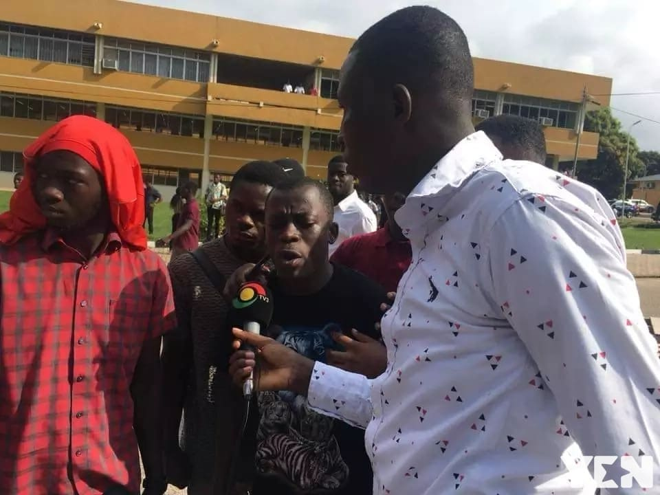 KNUST students 'defy' VC's warning; embark on demo and cause mayhem