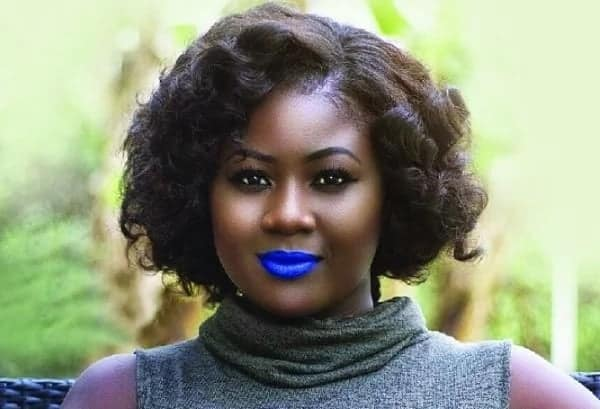 A woman with blue lips