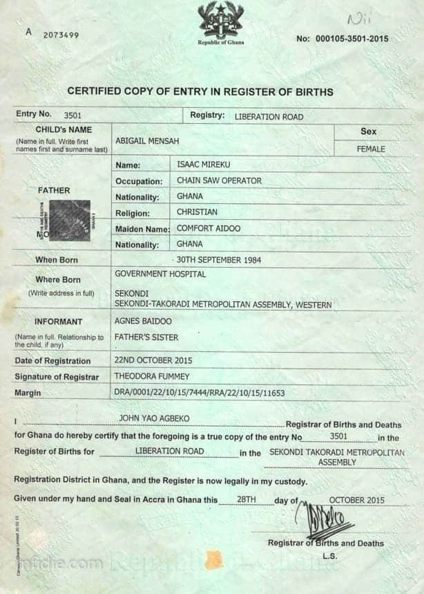 birth certificate in Ghana