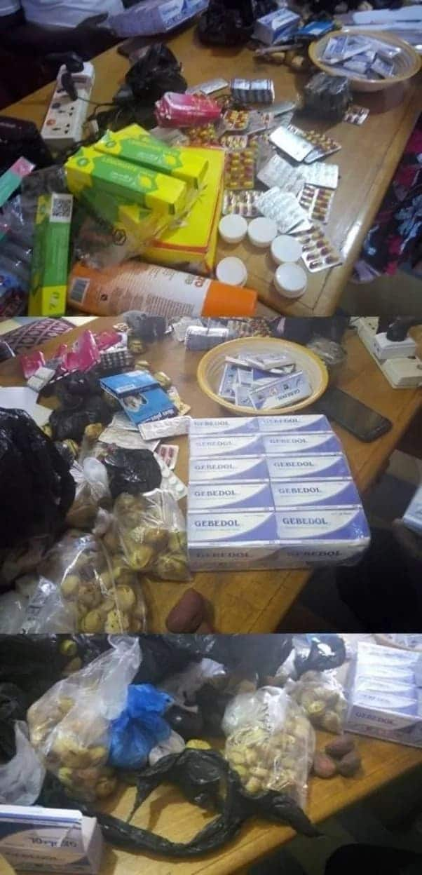 Contraband items seized from pilgrims