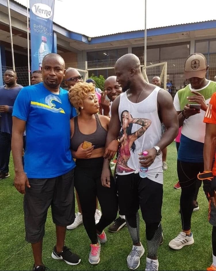 "This photo has Afia and Appiah looking into each other's eyes. And so the question fans are asking is ""Is Stephen Appiah the man Afia Schwarzenegger claims she proposed to?"""
