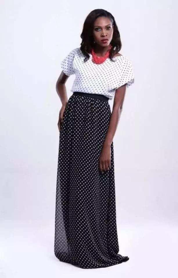 Latest Ghanaian Dresses- polka dot chiffon dresses