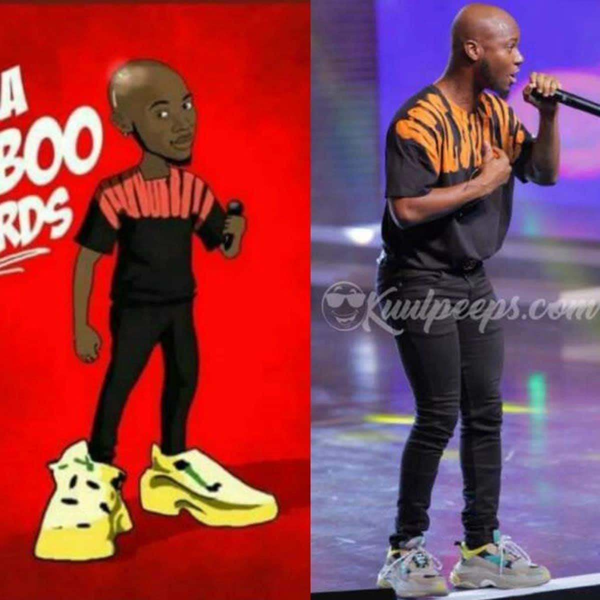 One of the artworks trolling King Promise's shoe at the VGMAs