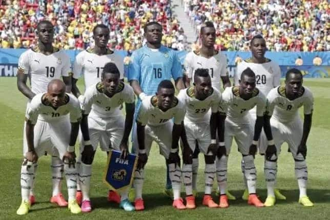 The Black Stars in proud line up before a match