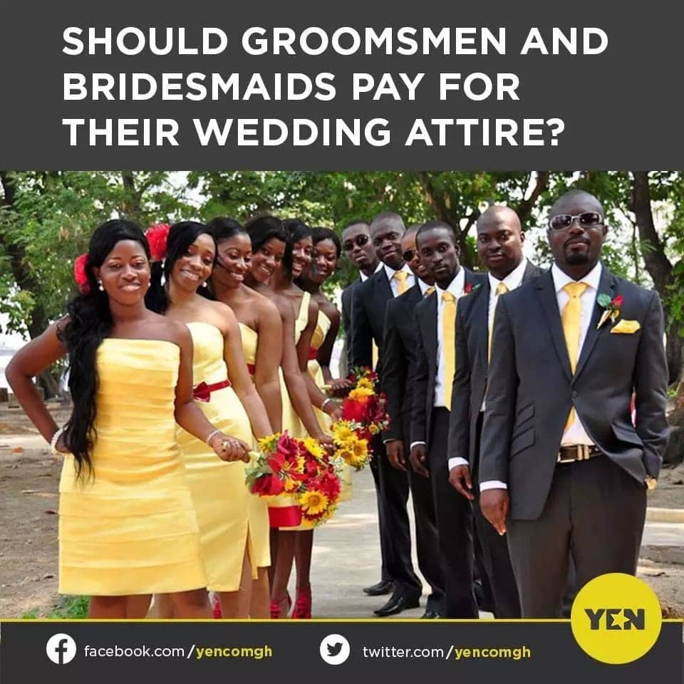 YEN.COM.GH readers shares their thoughts on whether bridesmaids and groomsmen should pay for their own clothes