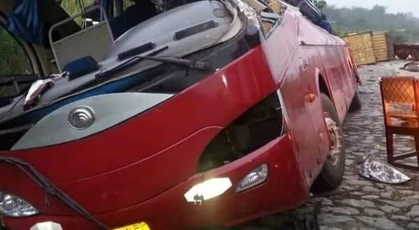 Gory Accident: 10 confirmed dead as Yutong Bus crashes at Nkawkaw