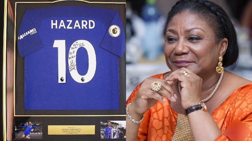956926142 Rebecca Akufo-Addo receives signed Chelsea replica jersey from Eden Hazard  ▷ YEN.COM.GH