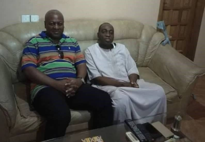 John Mahama seated with Chief Bawumia