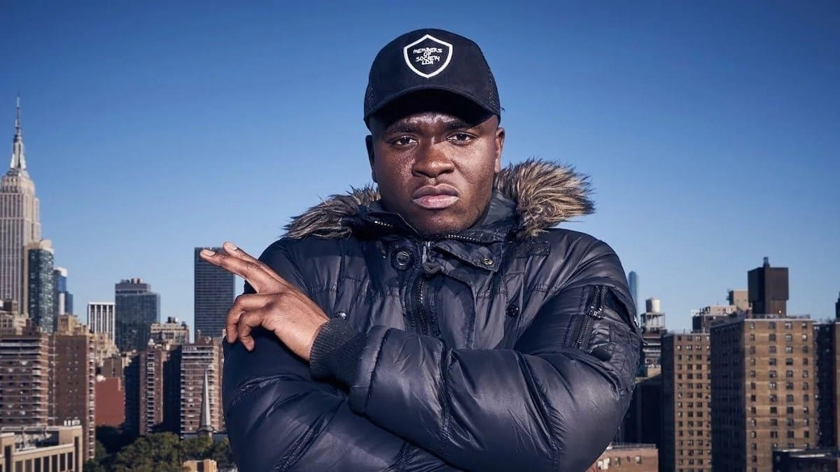 Michael Dapaah aka Big Shaq wearing large jacket