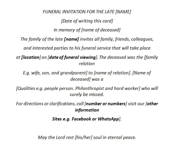 Incredible How To Write A Funeral Invitation Letter Yen Com Gh Personalised Birthday Cards Paralily Jamesorg