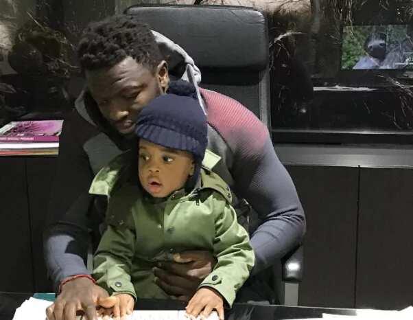 Menaye Donkor and son