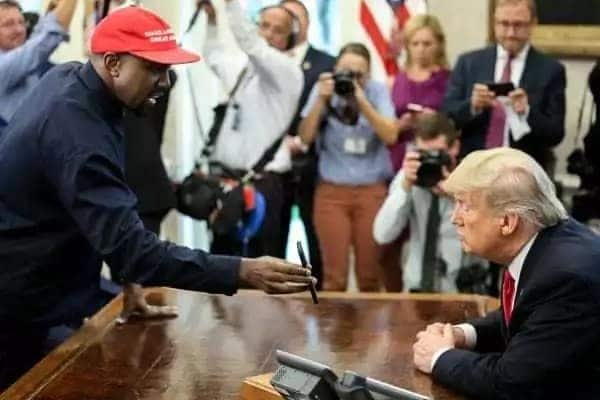 Rapper Kanye West visited the Oval Office to meet with President Trump. Image credit: Getty Images