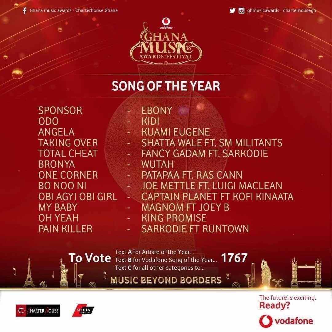 vodafone ghana music awards, ghana music awards nominations, ghana music awards winners list
