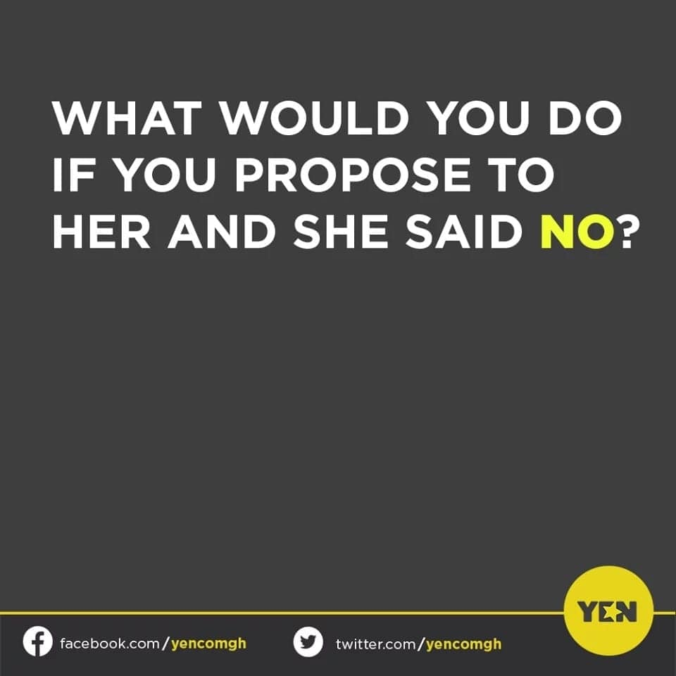 Social media users express their views on what they would do when they got 'bounced' after proposing to a lady