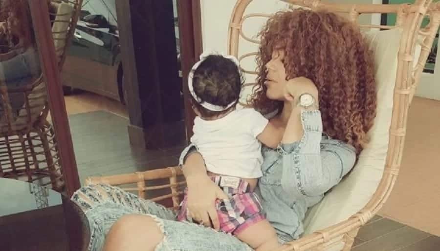 Nadia Buari with baby
