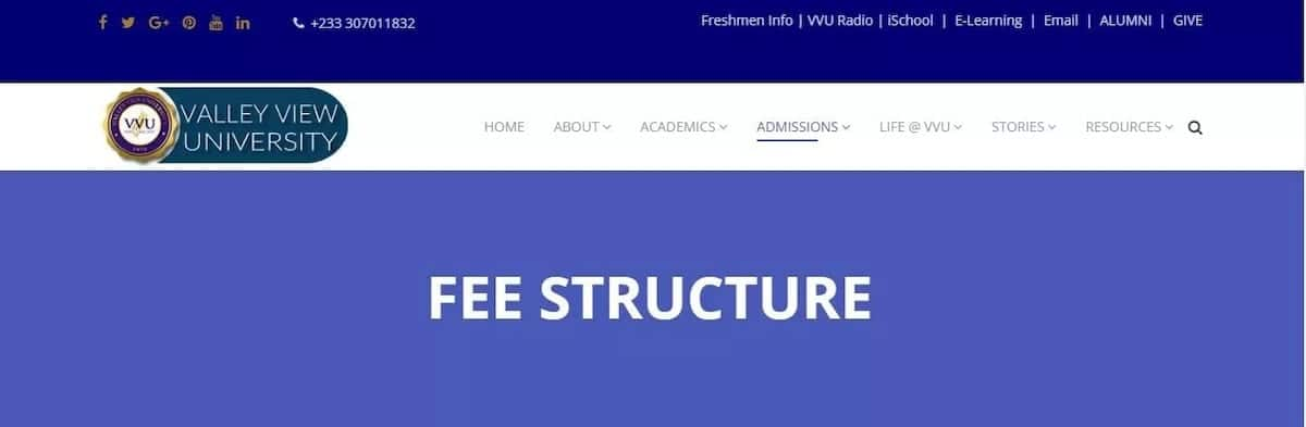 valley view university ghana tuition fees valley view university fees structure vvu fees