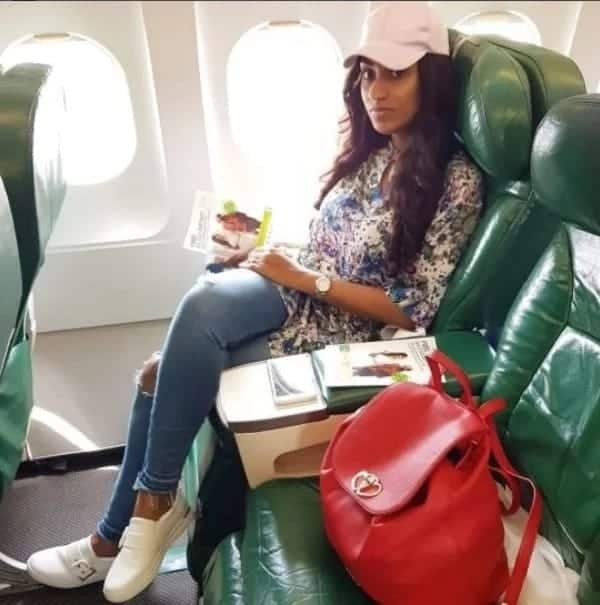 Actress Juliet Ibrahim spotted in a cute photo 'chilling' in a flight