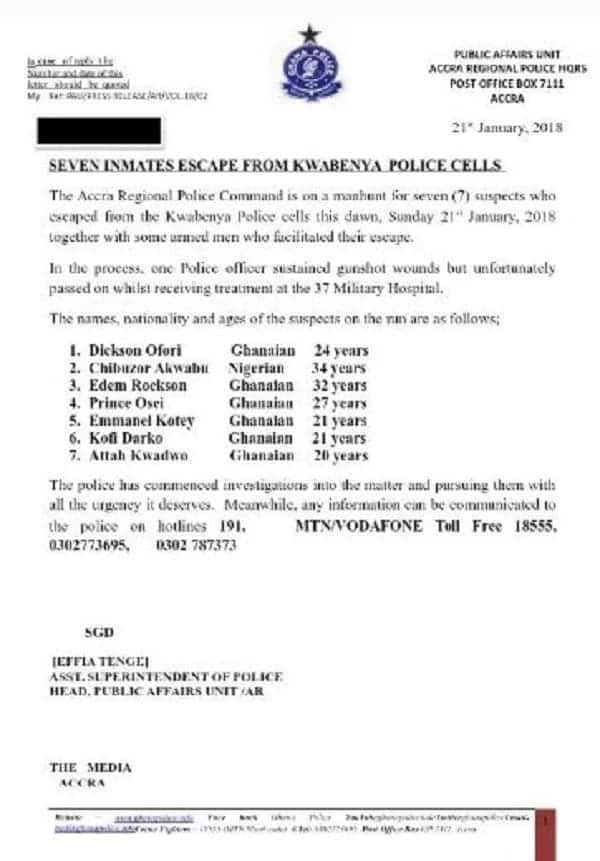 Police reveal identities of Kwabenya jail break