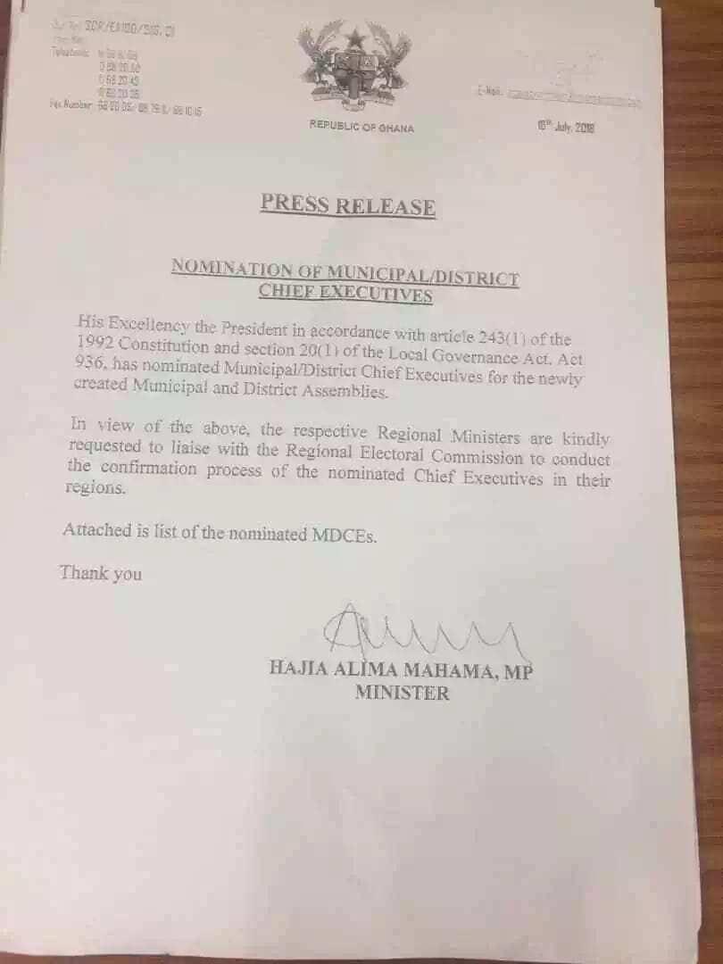 Akufo-Addo nominates 38 new MMDCEs