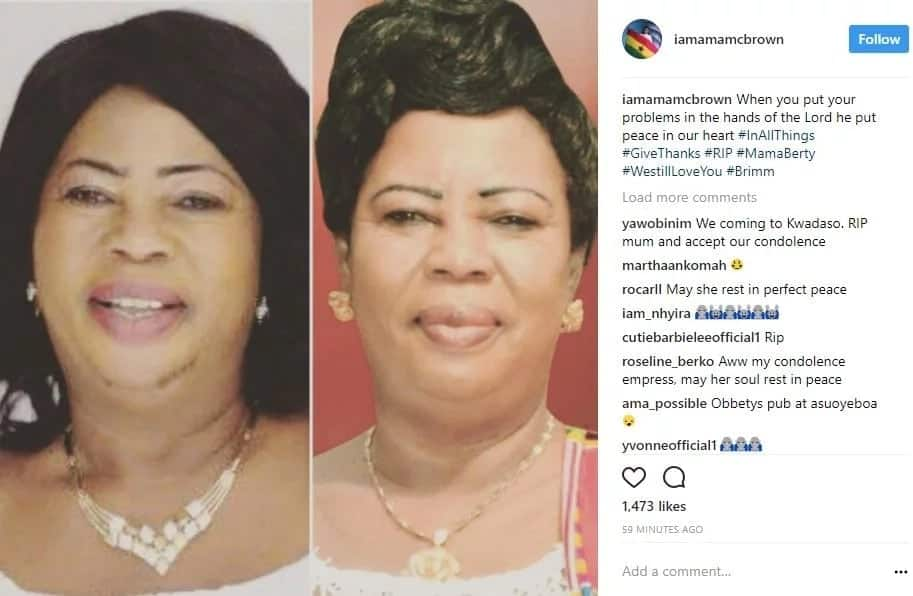 "Nana Ama McBrown shares photo of deceased ""mum"" on social media"