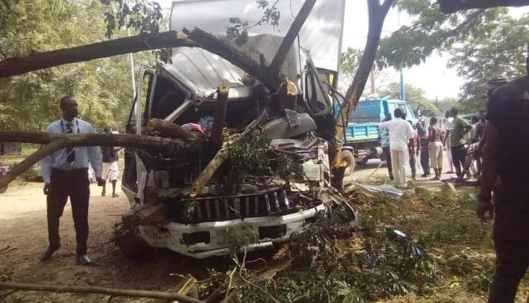 This photo shows how a trapped driver survived after an accident involving 10 cars in Accra