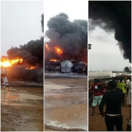 Disaster! Fire mercilessly guts gas tankers at Ashiaman