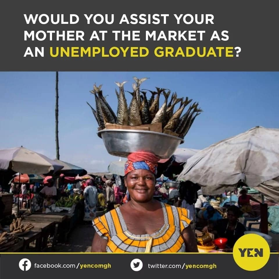 YEN.com.gh readers engage in banter whether it is right for a university graduate to help the mother in the market