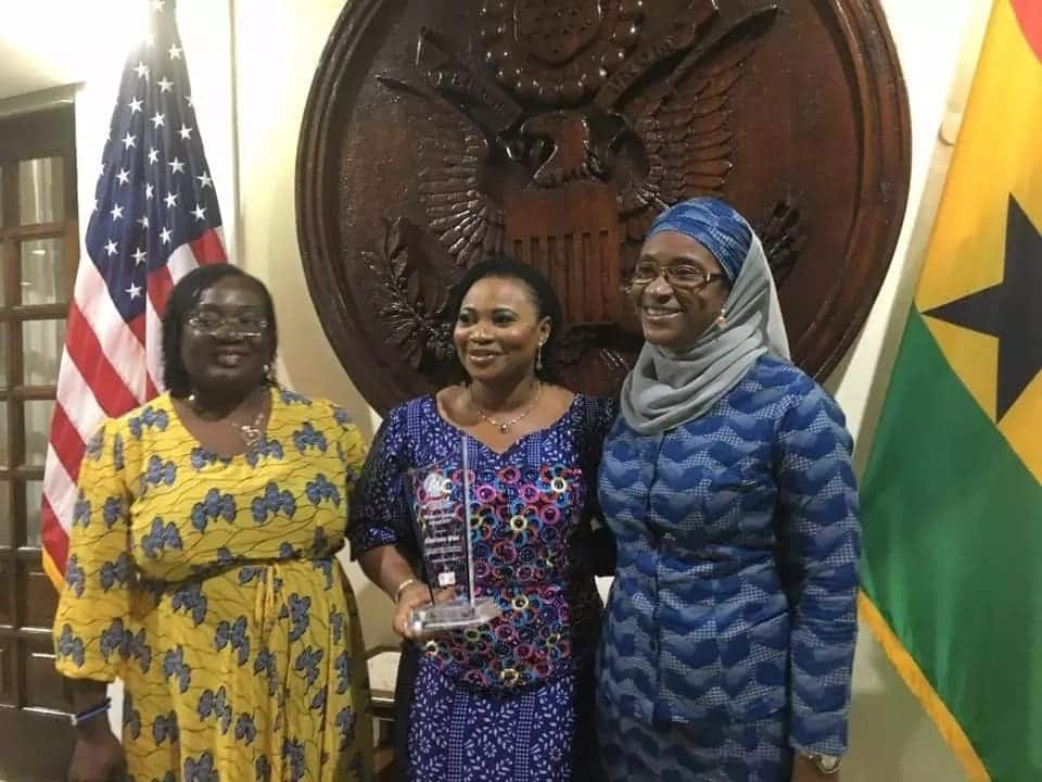 Mrs Charlotte Osei, Chairperson of the Commission, flanked by her colleague Commissioners, Mrs. Rebecca Kabuki Adjalo (L) and Hajia Saadatu Maida (R) after receiving the Woman of Courage award from the US Embassy