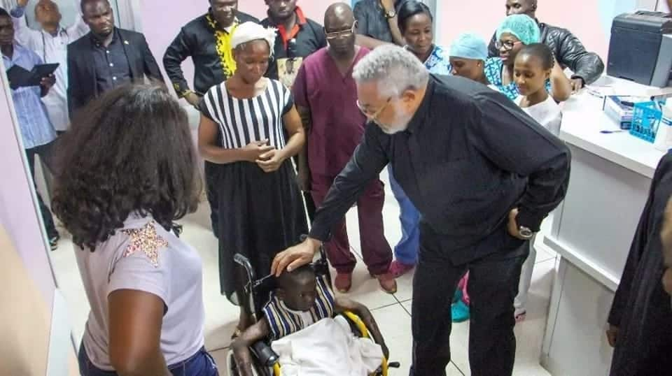 Jerry John Rawlings visits young accident victim and social media is excited