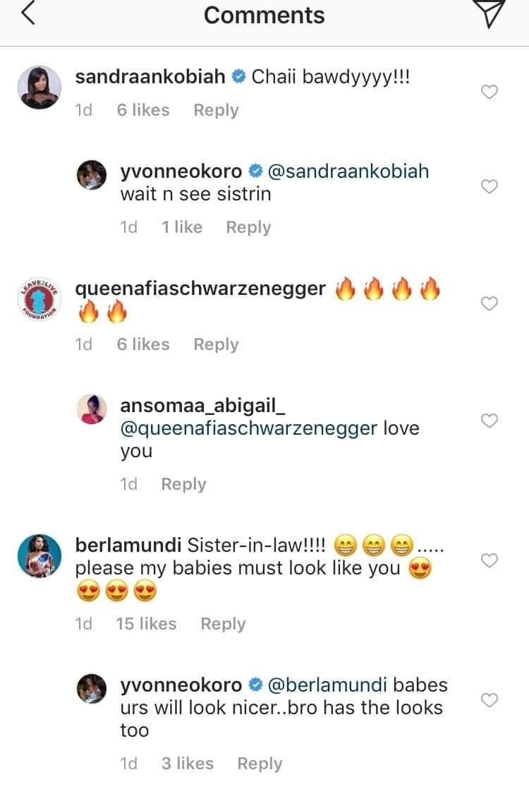 A screenshot of how Yvonne Okoro appears to have ignored Afia Schwarzenegger