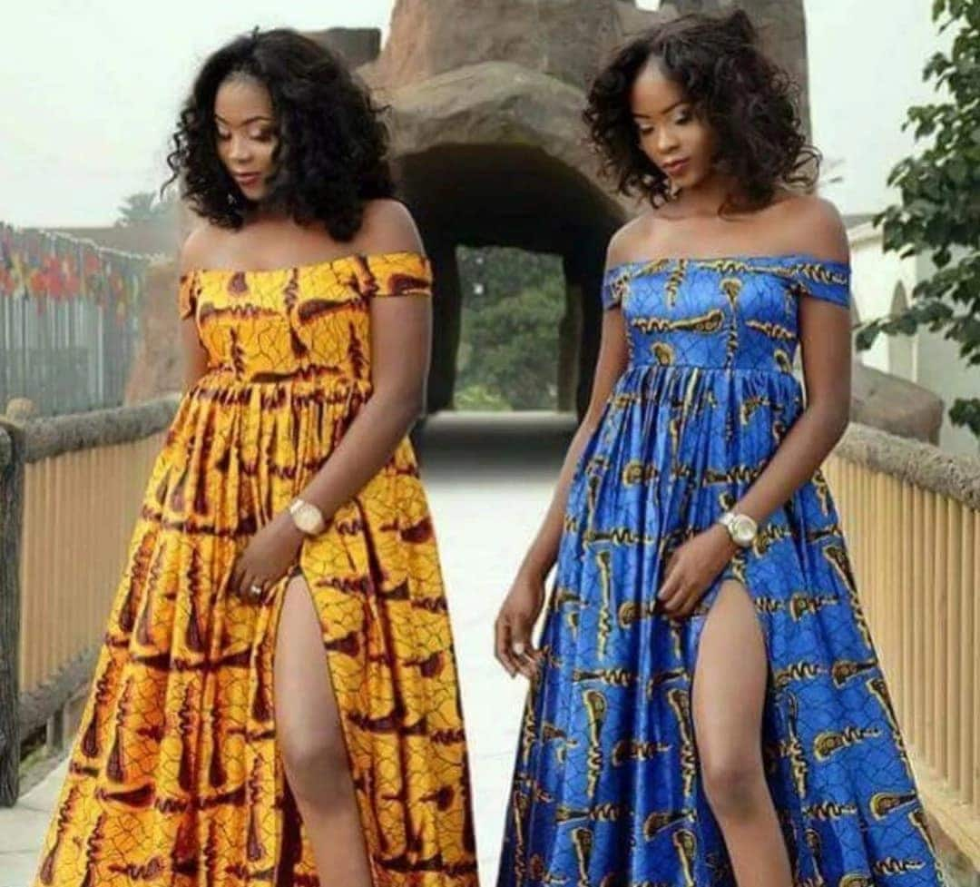 Latest off shoulder Ankara gowns ▷ YEN.COM.GH b6e941027b6a