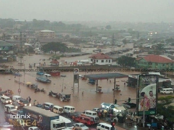 Kumasi flooded after downpour; residents displaced