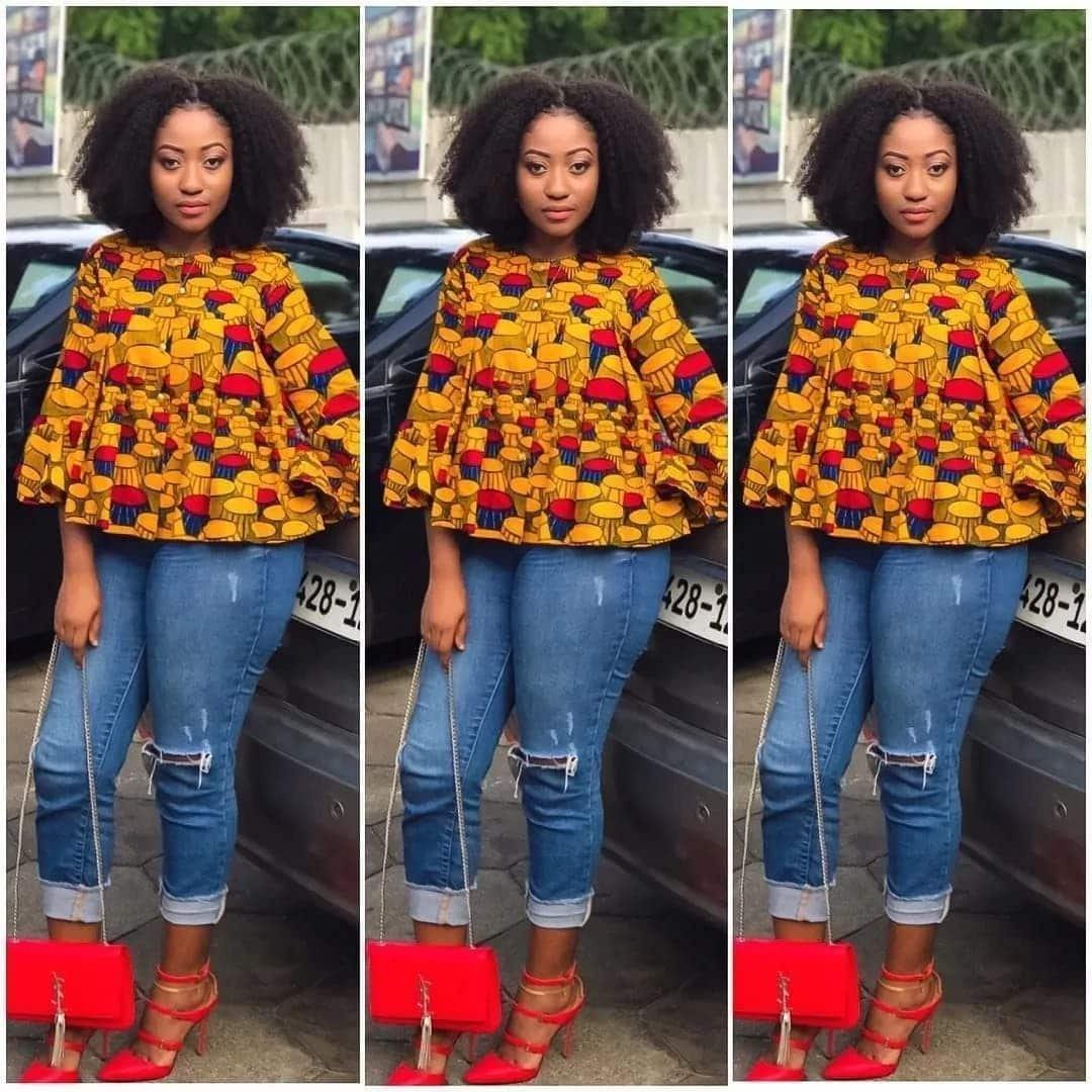 ce67b5d2b ankara tops for ladies stylish tops to wear with jeans ankara blouse on  jeans