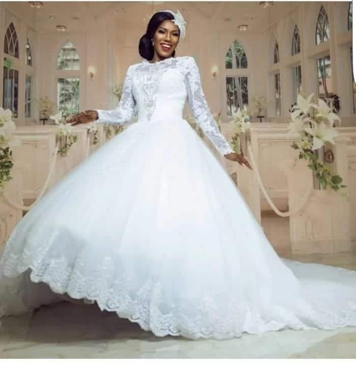 A bride wearing her wedding gown