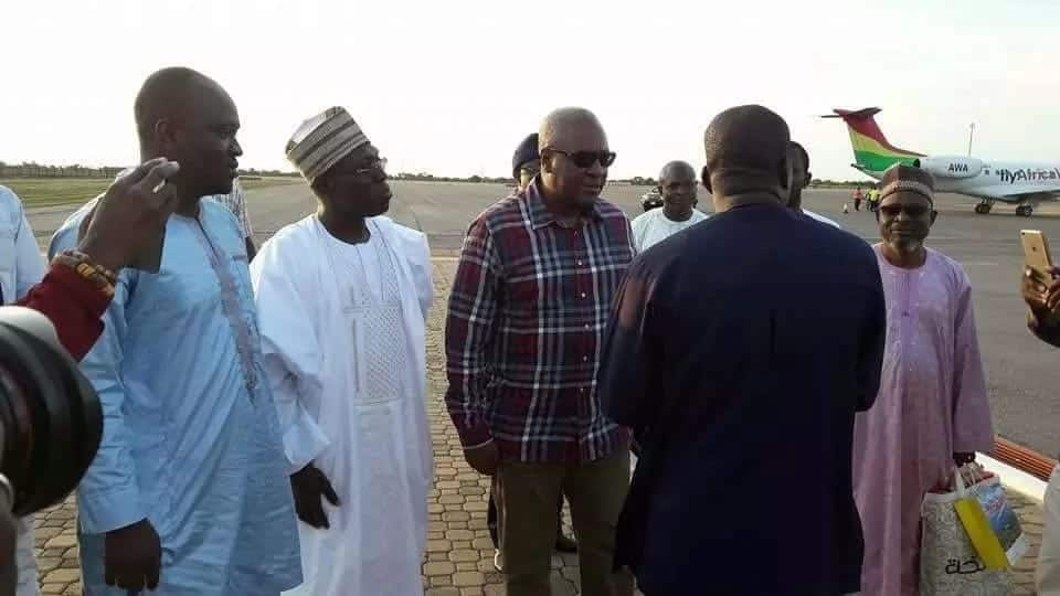 Photos: Mahama arrives in Tamale for NDC unity walk today