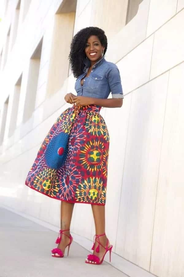 african print flared skirts