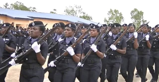 Policemen with their weapons
