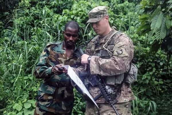 Military officers jungle training
