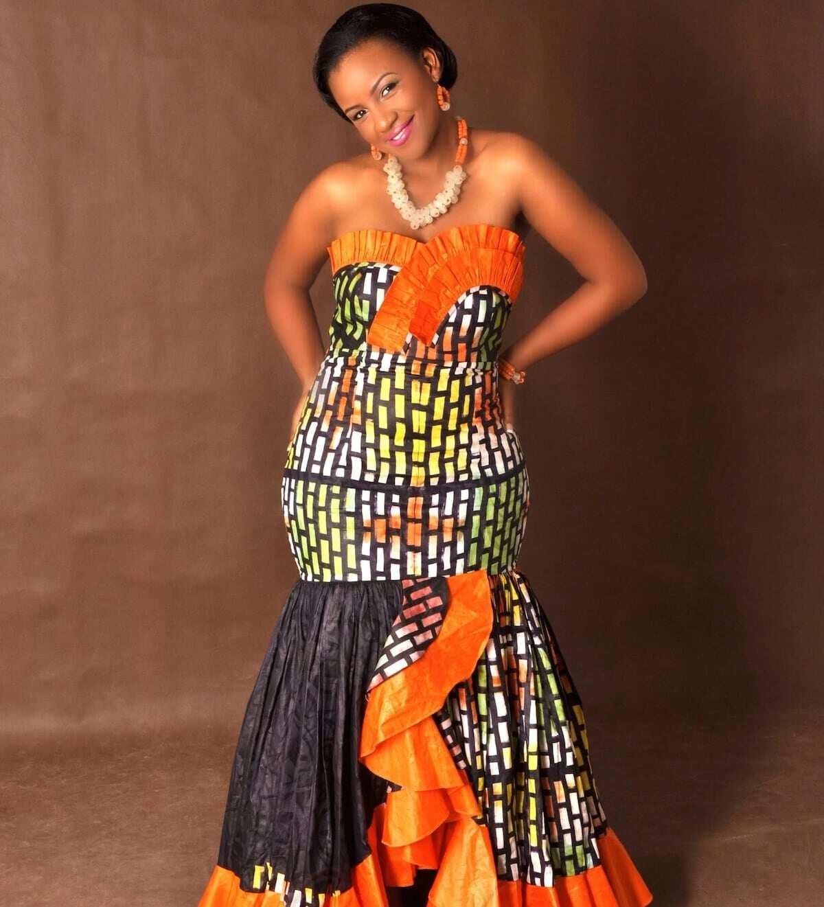 off shoulder ankara dress, latest ankara flare gowns, ankara cape styles