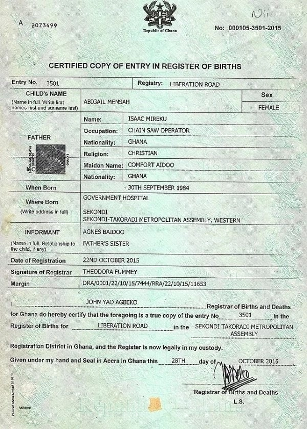Biometric birth certificate in Ghana ▷ YEN COM GH
