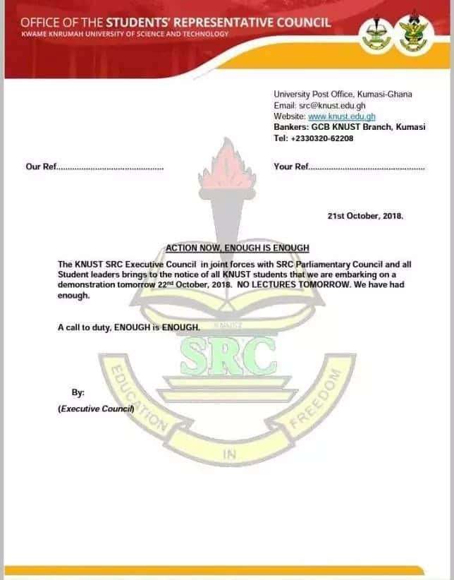 KNUST SRC declares demo over brutality on students today